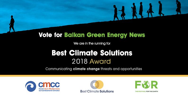 Glasajte za Balkan Green Energy News, jedinog kandidata iz JIE za nagradu Best Climate Solutions 2018 Award!