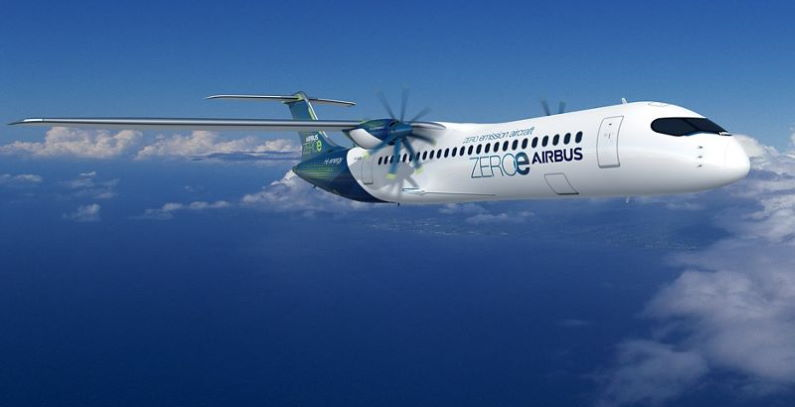 ZEROe koncepte hibridne avione vodonik