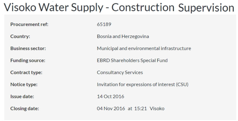 EBRD opened Construction Supervision procurement for Visoko water supply project