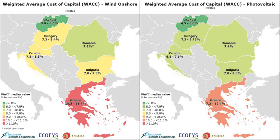 Cost of capital for onshore wind and solar investments mapped