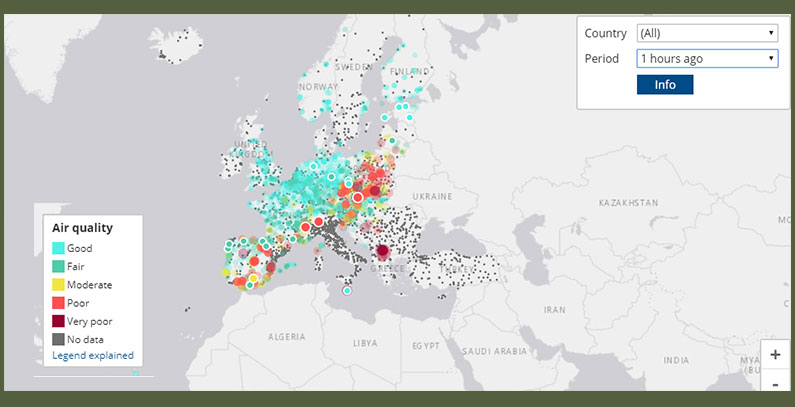 European Air Quality Index to show up-to-date quality of air