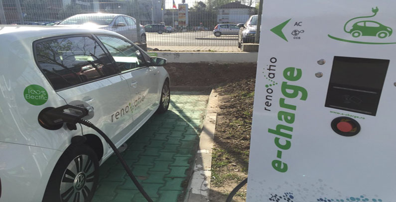 Network of fast charging stations for electric vehicles in Romania and Croatia