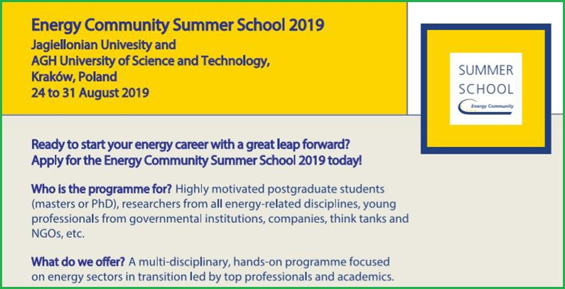 Applications invited for fourth Energy Community Summer School