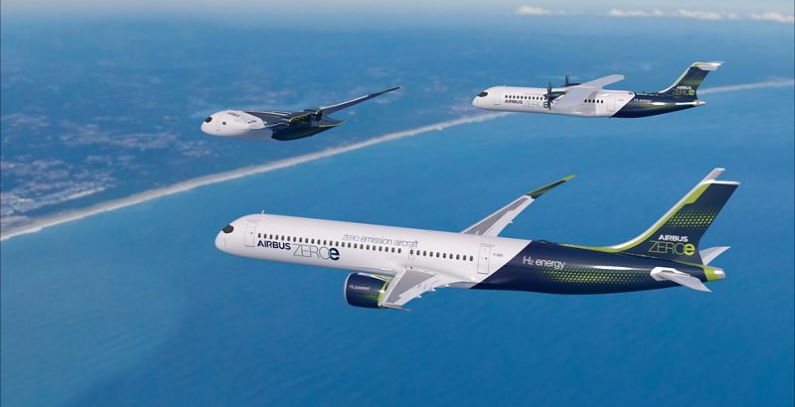 Airbus showcases concepts of hydrogen-fueled hybrid airplanes